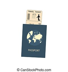 Passport and plane ticket on the white background. Vector...