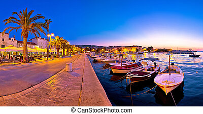 Supetar waterfront evening panoramic view, island of Brac,...