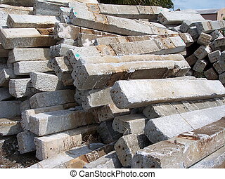 Railroad Ties - Pile of old concrete railroad track ties