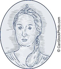 18th Century Russian Empress Bust Oval Drawing - Drawing...