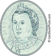 18th Century European Empress Bust Oval Drawing - Drawing...