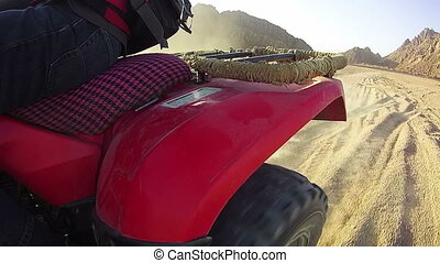 Extreme Driving of the ATV in the Desert of Egypt, view of...