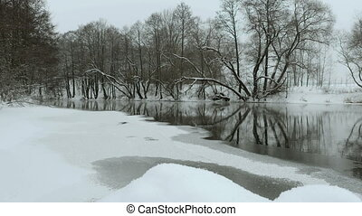 River in the winter. Used professional gimbal stabilazer.
