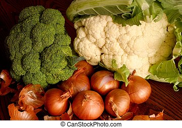 Vegetable mixture - Broccoli, cauliflower and shallots on a...