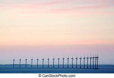 Offshore wind farm - A wind farm off the coast of...