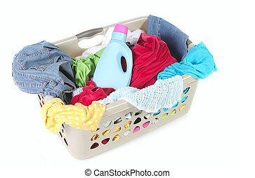 Laundry Basket Full of Dirty Clothes and Softener on White...