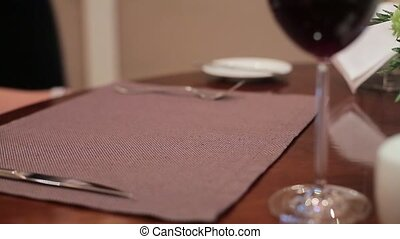 Serving a meal in a restaurant close up