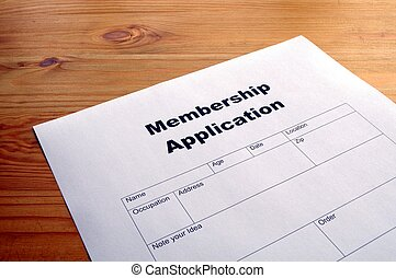 membership application form on desktop in business office