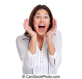 Happy laughing woman - Young happy winner woman isolated...