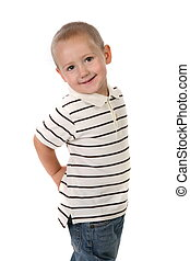 Little Boy With Hands on His Hip on White