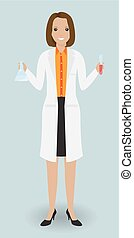 Medical laboratory assistant standing with a glassware....