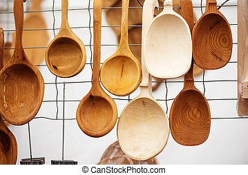 Handicraft mart Kaziukas in Vilnius, Lithuania: wooden...
