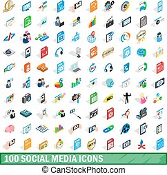 100 social media icons set, isometric 3d style