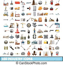 100 industry icons set, cartoon style - 100 industry icons...