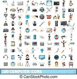 estilo, iconos, Conjunto, computadora,  100, caricatura