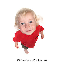 Happy Baby Boy Looking Up to the Sky on White Background