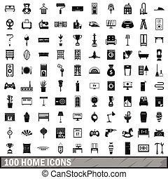 100 home icons set, simple style