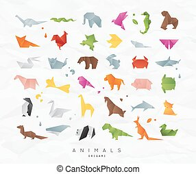 Animals origami set color