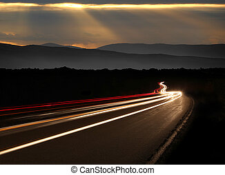 Night Time Car Light Trails in the Mountains