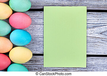 Easter eggs with empty card.