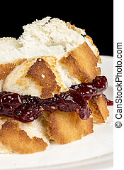 Jelly sandwich made from fresh white bread - Lunch made of...