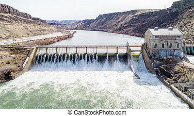 Historic Diversion Dam on the Boise River - Boise River in...