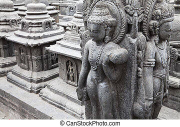 Granite Sculptures at Swayambunath, Nepal - Image of branite...