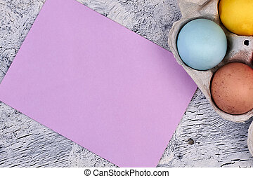 Blank card with easter eggs.