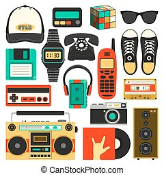 Vector old style equipments, accessories and things icons set. Old school collection in flat style. Design templates