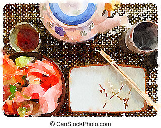 DW Japanese Place Setting - Digital watercolor painting of a...
