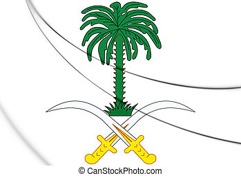 3D Saudi Arabia coat of arms. 3D Illustration.
