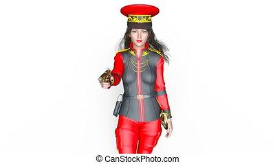 Walking female soldier - 3D CG rendering of a walking female...