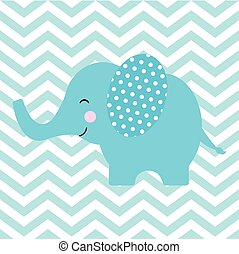 Baby shower card with cute elephant on chevron background