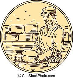 Cheesemaker Making Cheddar Cheese Circle Drawing - Drawing...