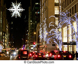 New York City Streets during the Christmas Holiday - New...
