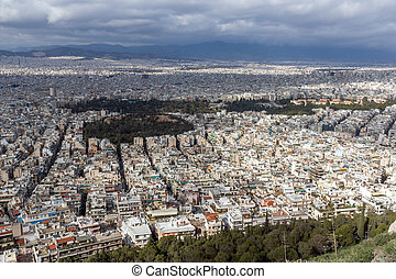 Amazing view of the city of Athens from Lycabettus hill,...