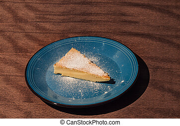 Japanese cheesecake on a plate, close up