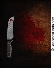 3D bloody knife on a bloodstained grunge background