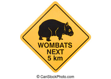 Wombat warning sign - Australian road sign warning of stray...