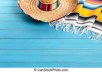 Mexican background with copyspace - Mexican sombrero and...
