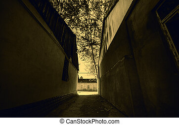 An alley way between two buildings at night time in Gazakh...