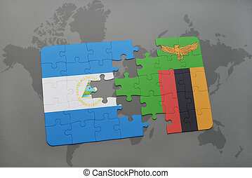 puzzle with the national flag of nicaragua and zambia on a...