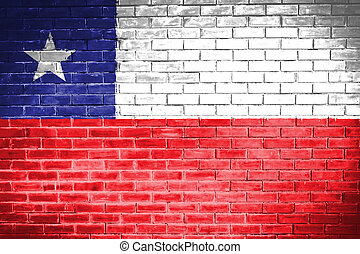 Chile  flag , Chile  flag on wall texture background
