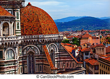 Duomo Cathedral Basilica From Giottos Bell Tower Florence...
