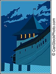 Castle tower at night - Stylized vector composition on the...