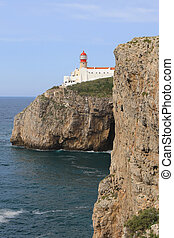 Vertical of Cape St. Vincent Lighthouse in Portugal