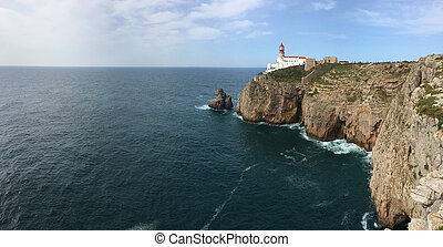 Panorama of Cape St. Vincent Lighthouse in Portugal