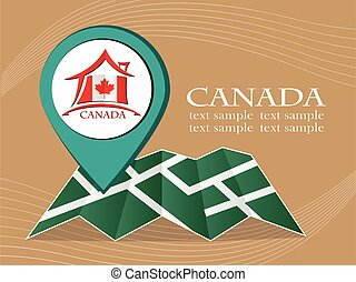 map with pointer flag Canada vector illustration eps 10.