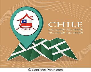 map with pointer flag Chile vector illustration eps 10.