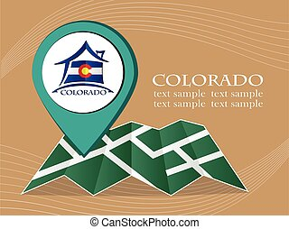 map with pointer flag Colorado vector illustration eps 10.